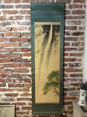Antique Vintage 60's Wall Scroll Japan Painting Calligraphy Hanging Asian art