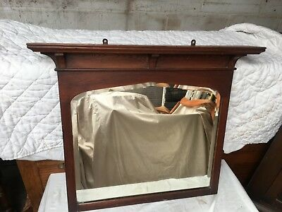 Antique Oak Surround Victorian Overmantle Mirror with Bevelled Edges