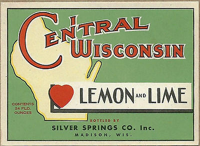 1930's Central Wisconsin Lemon and Lime Soda Bottle Label - Madison, WI