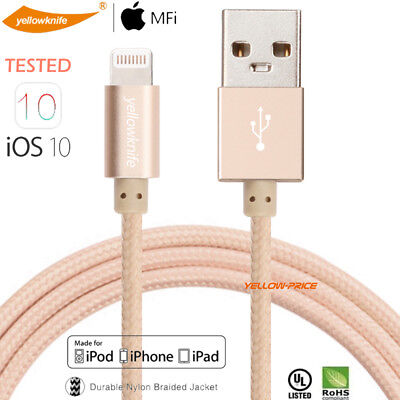 MFI Certified Braided Fabric USB Data Sync Charger Cable Cord for iPhone 3.3FT