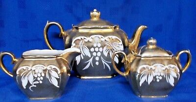 Sadler ~ Vintage Gold/gilt Teapot  Sugar Bowl & Milk Jug ~