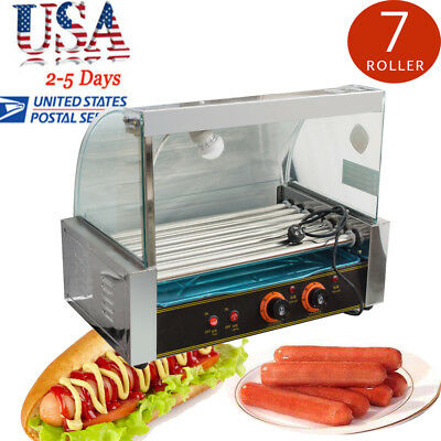 HOT SALE! Commercial 18 Hot Dog Hotdog 7 Roller Grill Cooker Machine W/Cover FDA