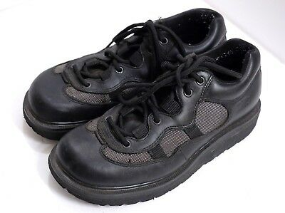 VGUC Dr. Martens Men's Size 7 Black Leather & Grey Mesh Ankle Boots England Made