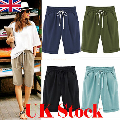 Womens Linen Summer Casual Shorts Lobby Knee Length Holiday Crop Pants Plus Size
