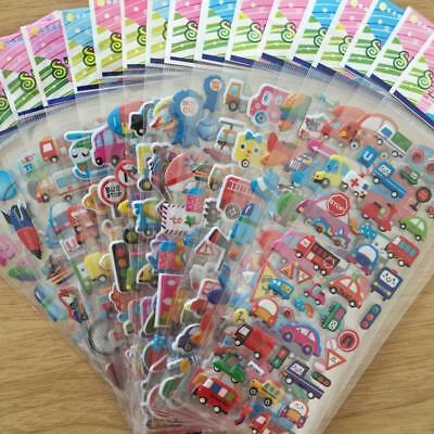 5 Sheets 3D Lovely Cartoon Bubble Stickers for Kids Gift Toy Soft UV printing