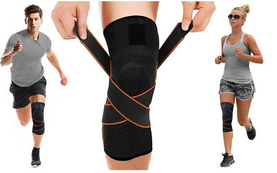 Unisex Knee Support Brace Bandage Straps Compression Sleeve Outdoor Sport Relief