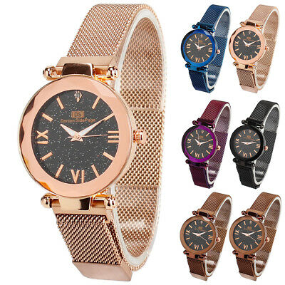 Fashion Women Watch Starry Sky Diamond Stainless Steel Bracelet Wrist Watches