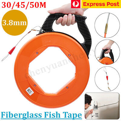 30/50M Fiberglass Cable Wire Pulling Reel Conduit Duct Rodder Fish Tape Puller