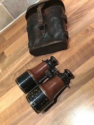 Antique WW1 Pair Royal Navy Marine Brass Ships Binoculars Maritime Nautical