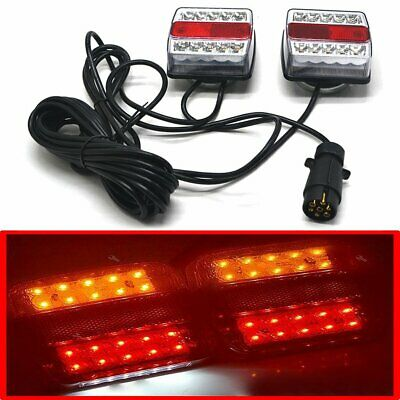 2 Magnetic 15 LED Trailer Towing Lightboard Light Rear Tail Board Lamp 7.5m Wire