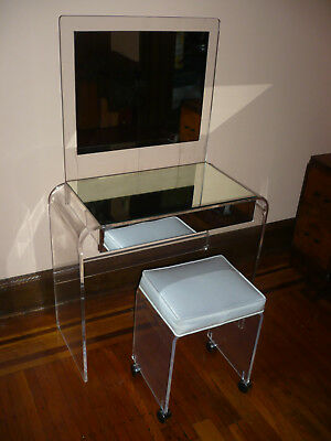 Mid-century Modern Lucite mirrored vanity with stool