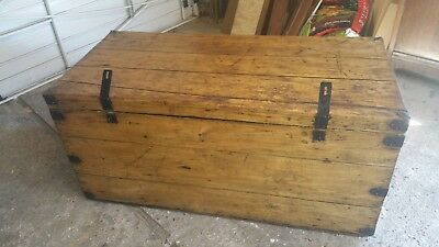 Old Antique Industrial Pine Steamer Trunk Blanket Storage Box Chest