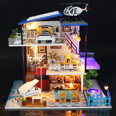 Dollhouse Wooden Doll House Miniature + Furnitures LED Music DIY Birthday Gift ☆