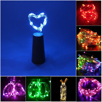 20 LED Weinflasche Kork String Light Nacht Fairy Party Licht Lampe 8 Farbe