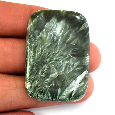 GORGEOUS AAA NATURAL SERAPHINITE FANCY 42x28x3 MM CABOCHON LOOSE GEMSTONE 47 Ct.