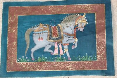 hand painted on silk Indian horse picture
