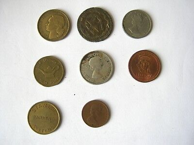 Coins and Tokens  :  8 Lot