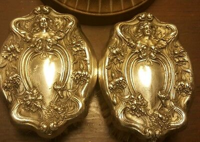 Lot 2 Antique Repousse Figural Maiden Silver Plate? Sterling? Clothes Brushes