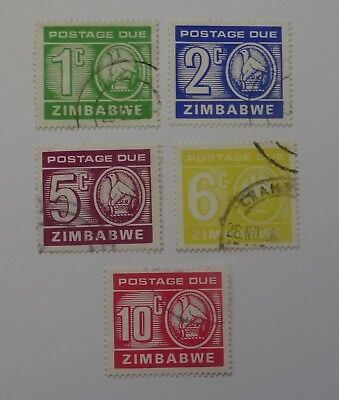Full set Postage Due stamps Zimbabwe USED issued 1980