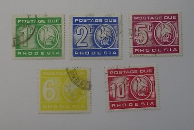 Full set Postage Due stamps RHODESIA USED issued 1970