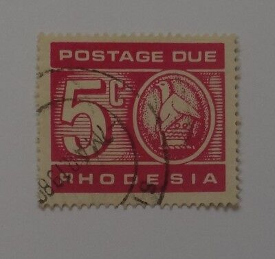 Postage Due 5 Cent stamp RHODESIA USED issued 1970 Printed with BROWN gum