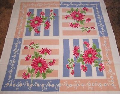 Vintage Tablecloth Large Red Pink African Daisies on Blue Pink Bars 1960s