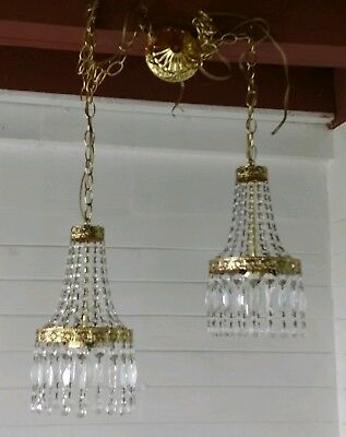 Pair Of Vintage French Basket Swag Style Brass & Crystals Chandeliers