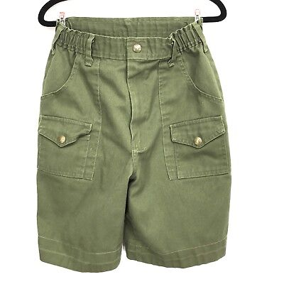 Vintage Boy Scout Shorts Uniform Green BSA Youth Size 12 26W USA