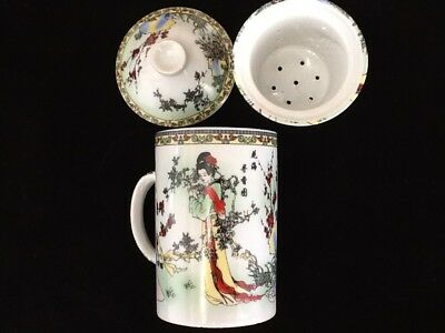 Chinese Porcelain Tea Cup Handled Infuser Strainer with Lid 10 oz Four Ladies