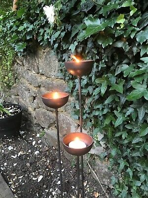 x3 Industrial Garden Candle Holders/ garden decor/ wedding/ candle stand