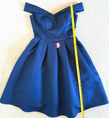 Navy off the shoulder full skirt 50s style bridesmaids wedding holiday dress