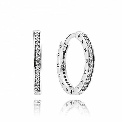 Pandora Signature Hoop Earrings Genuine S925 ALE