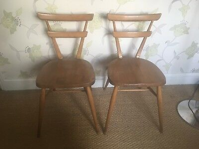 Vintage Ercol Green Dot Stacking Chairs x 2,  Blonde 1960's Mid Century No.461