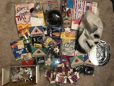 Vintage Halloween Costume Accessories Lot Mask Skull 70s 80s Sheriff Limey New