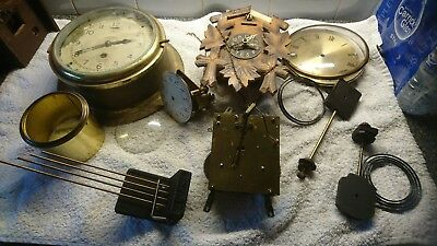 Antique clock parts good lot ships clock  movement others