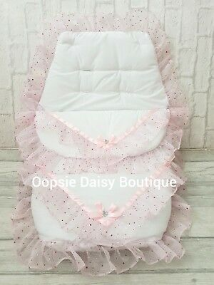 Baby Girls White & Pink Luxury Ribbon & Lace Foot Muff Cosy Toes Pram Nest