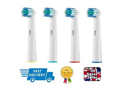 4 Pack Replacements Heads for Oral B Cross Action Electric Toothbrush -UK Seller