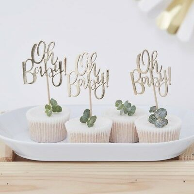 GOLD FOILED OH BABY! CUPCAKE TOPPERS - Baby Shower,Gender Reveal,Party,Tableware