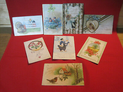 Mixed lot of antique vintage postcards, birthday, Valentines Day, Thanksgiving