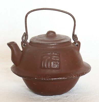 Japanese Vintage Clay Bell Tea Pot with Handle Brown Handcraft Dorei Signed
