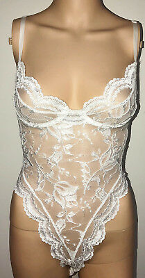 Faris White Shiny Sheer Lacy Sissy Poly Hi Thigh Teddy Lingerie Nightgown S P