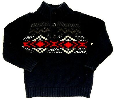 Gap Baby Boy Navy Blue & Red Christmas Sweater  MSRP$30 euc