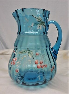 Beautiful Antique Victorian Hand Painted & Hand Blown Large Blue Water Pitcher