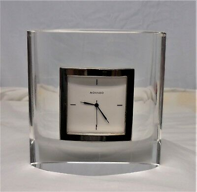 MOVADO Clear Crystal Asymmetrical Desk Clock Japan Movement Working ~ SUPER