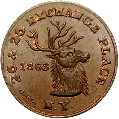 1863 New York City Civil War Token Edwd Schulze's Restaurant Deer Antlers
