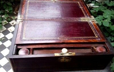 Superb large campaign writing slope with working  bramah lock and key 2 inkwell
