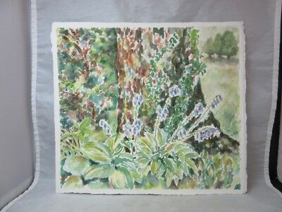 Amateur art water color painting. Tree & flowers, Garden