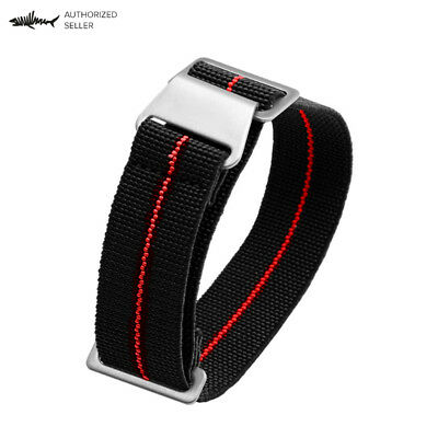 Marine Nationale Elastic Nylon Dive Watch Strap 22 mm Black / Red No Logo Silver