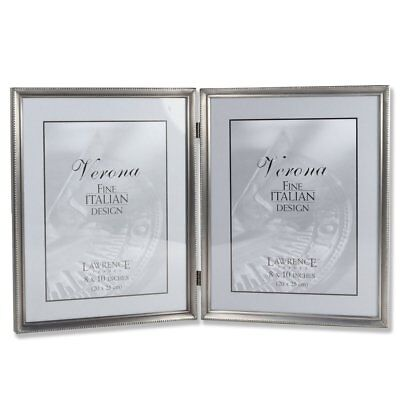 Lawrence Frames Antique Pewter 4x6 Hinged Double Horizontal Picture