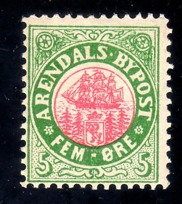 Norway Local post 1885 ARENDAL # 8 , 5 øre MINT NEVER HINGED